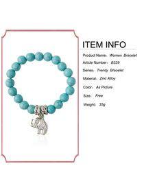 Breve estilo bohemio Diseño colgante de la pulsera del elefante de la turquesa