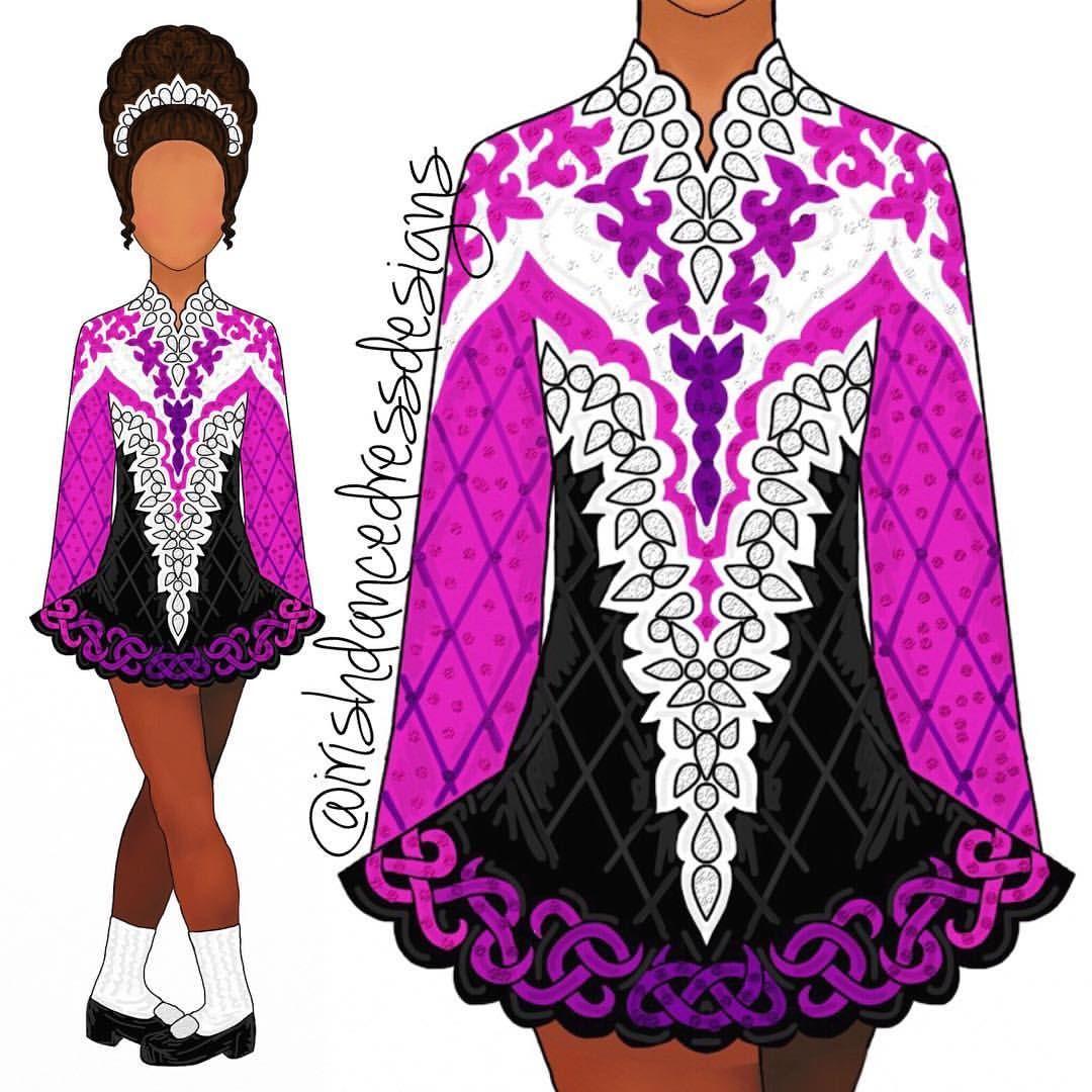 570 Likes 5 Comments Irish Dance Dress Designs Irishdancedressdesigns On Instagram Pink Bla Irish Dance Dress Designs Irish Dancing Dresses Irish Dress