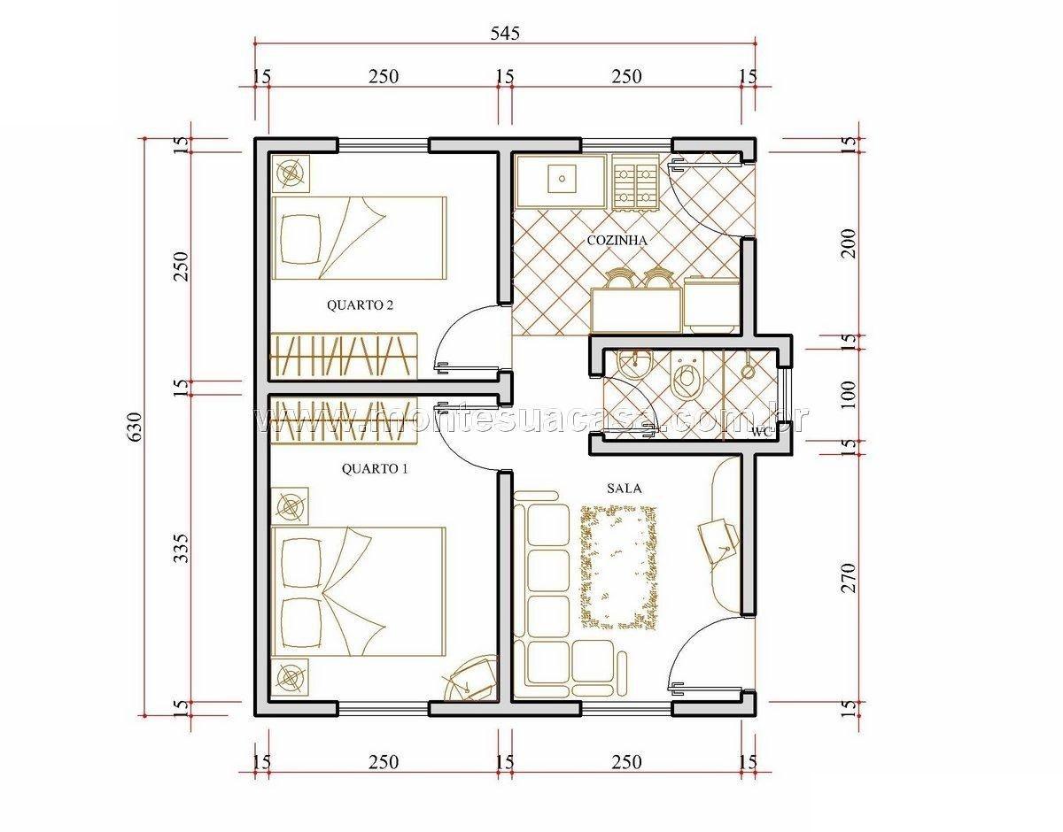 5 modelos de plantas de casas com 2 quartos house for Plantas de casas tipo 3