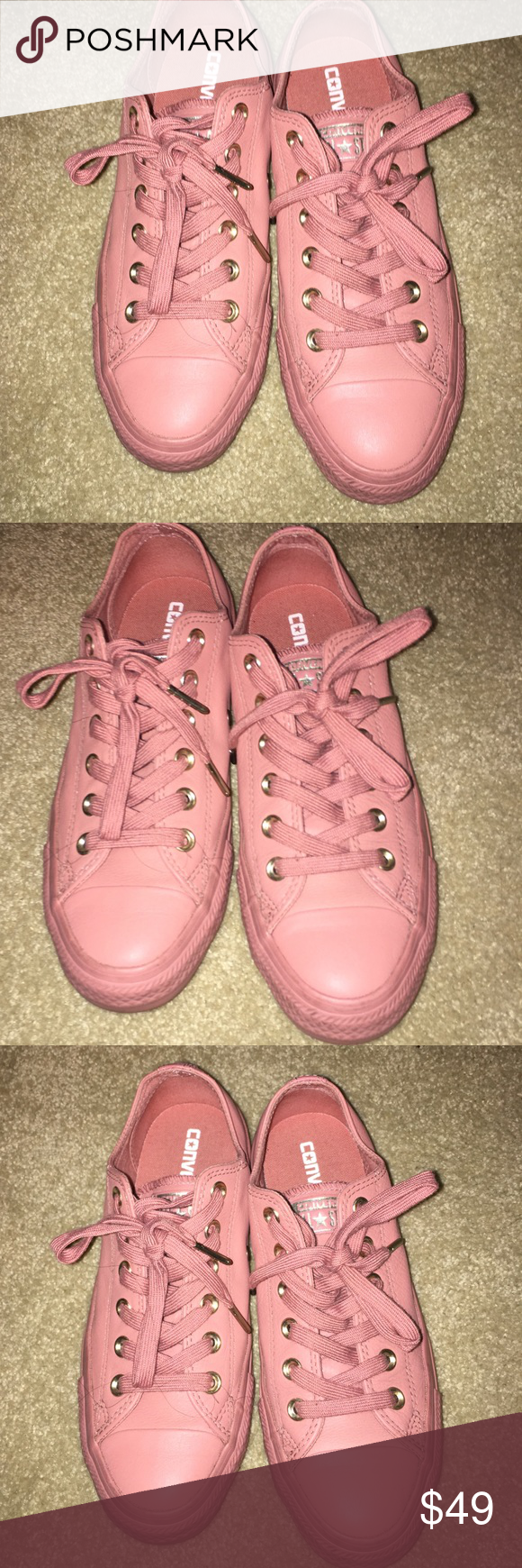 43292717786a Converse chuck taylor all star leather sneakers Color  Desert Sand (Pink mauve  color