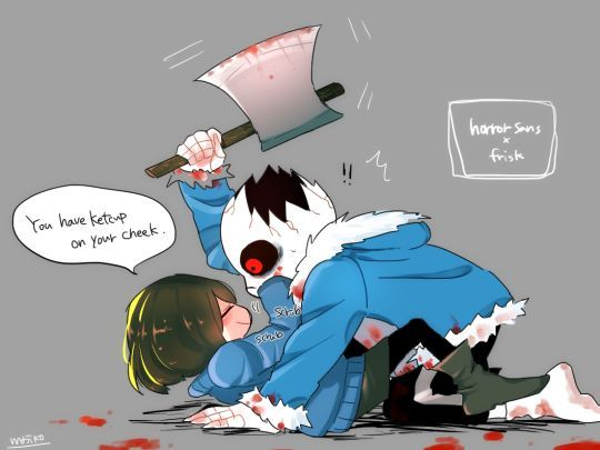 Horrortale I don't like Frisk x Sans but this is still cute