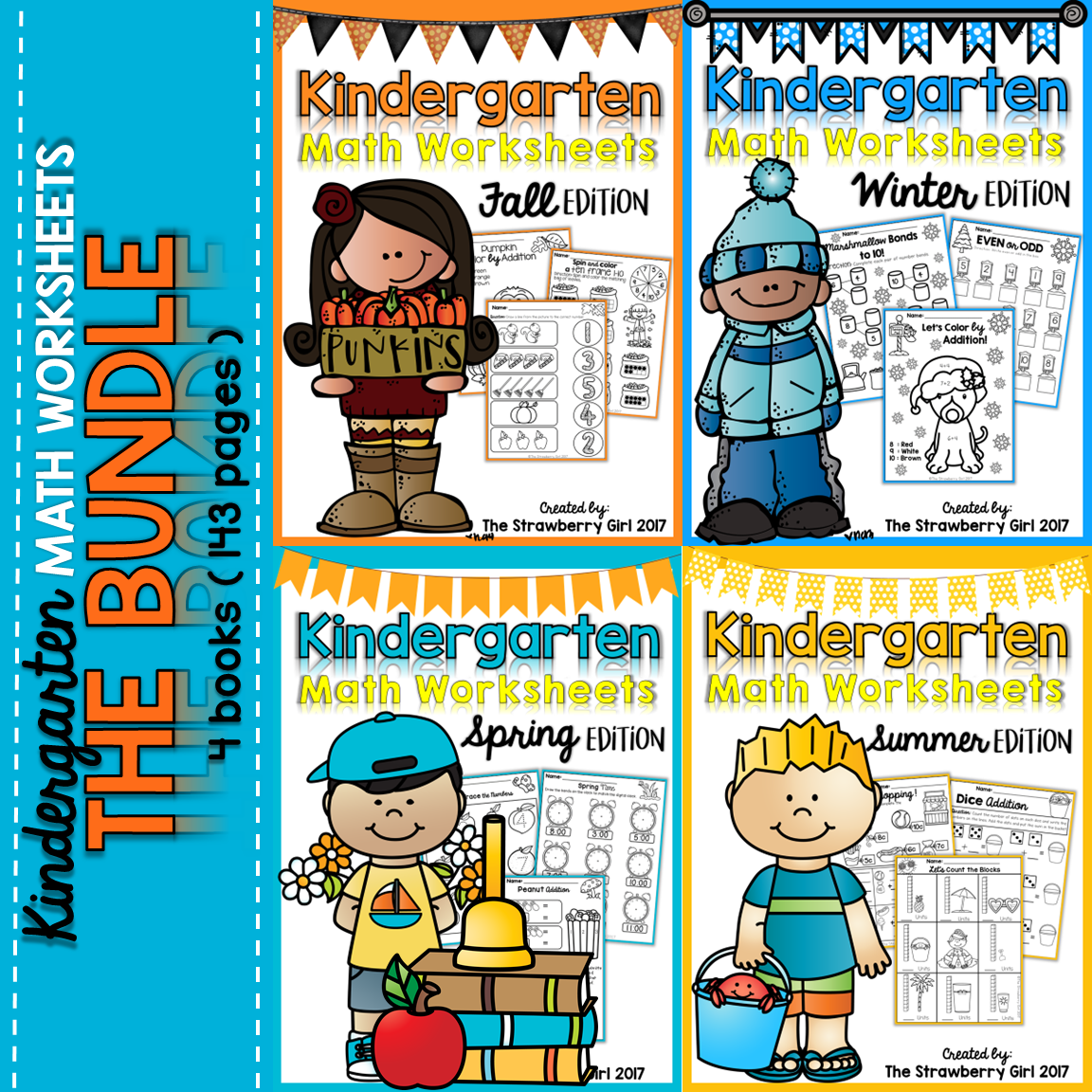 Kindergarten Math Worksheets - All Seasons Bundle | Fun worksheets ...