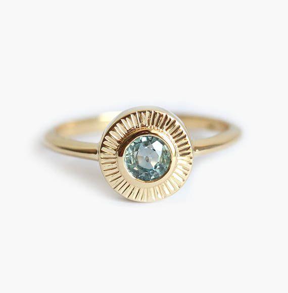 Montana Sapphire Ring Sun Ring Sun Rays Ring Gold Sun Ring