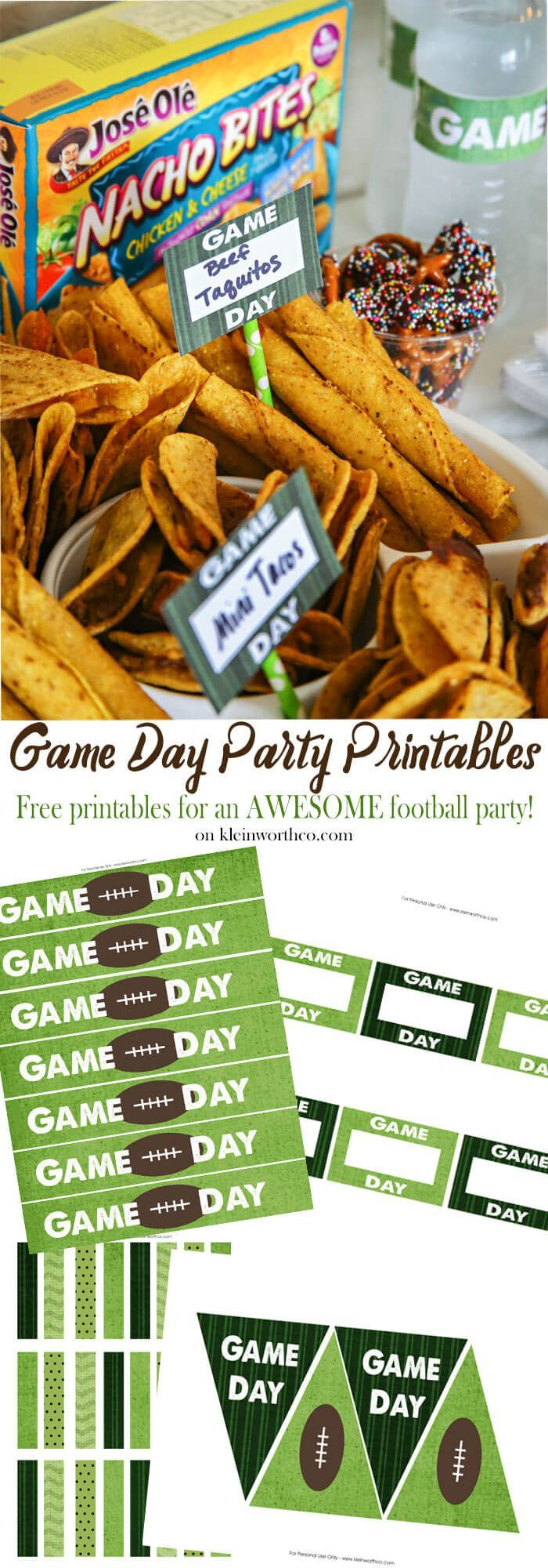 Game Day Party Printables to decorate your party table! Perfect for die-hard football fans - Just cut, tape & enjoy! AD #JustSayOle @joseolecentral