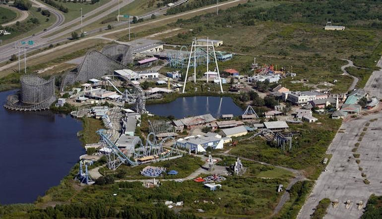 Aerial View Of Abandoned Six Flags New Orleans After