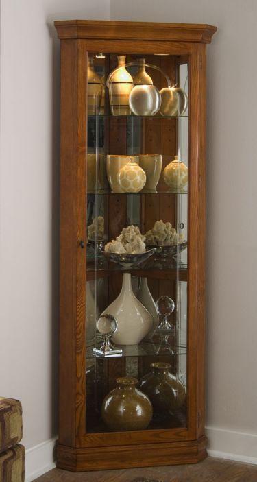 Corner Curio Cabinet Golden Oak Ii Pulaski Curios Amazon