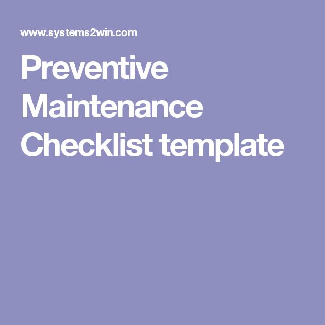 preventive maintenance excel template preventive maintenance