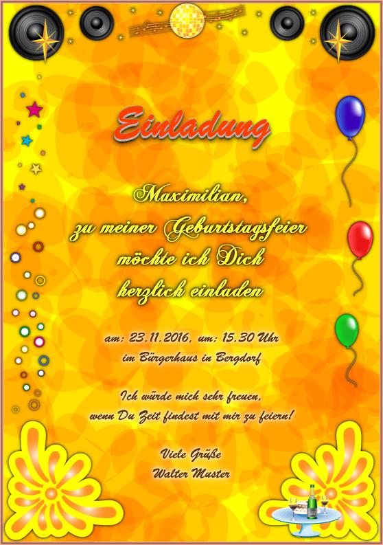 """einladungskarte: """"disco"""" / einladung zur geburtstagsfeier, Einladung"""
