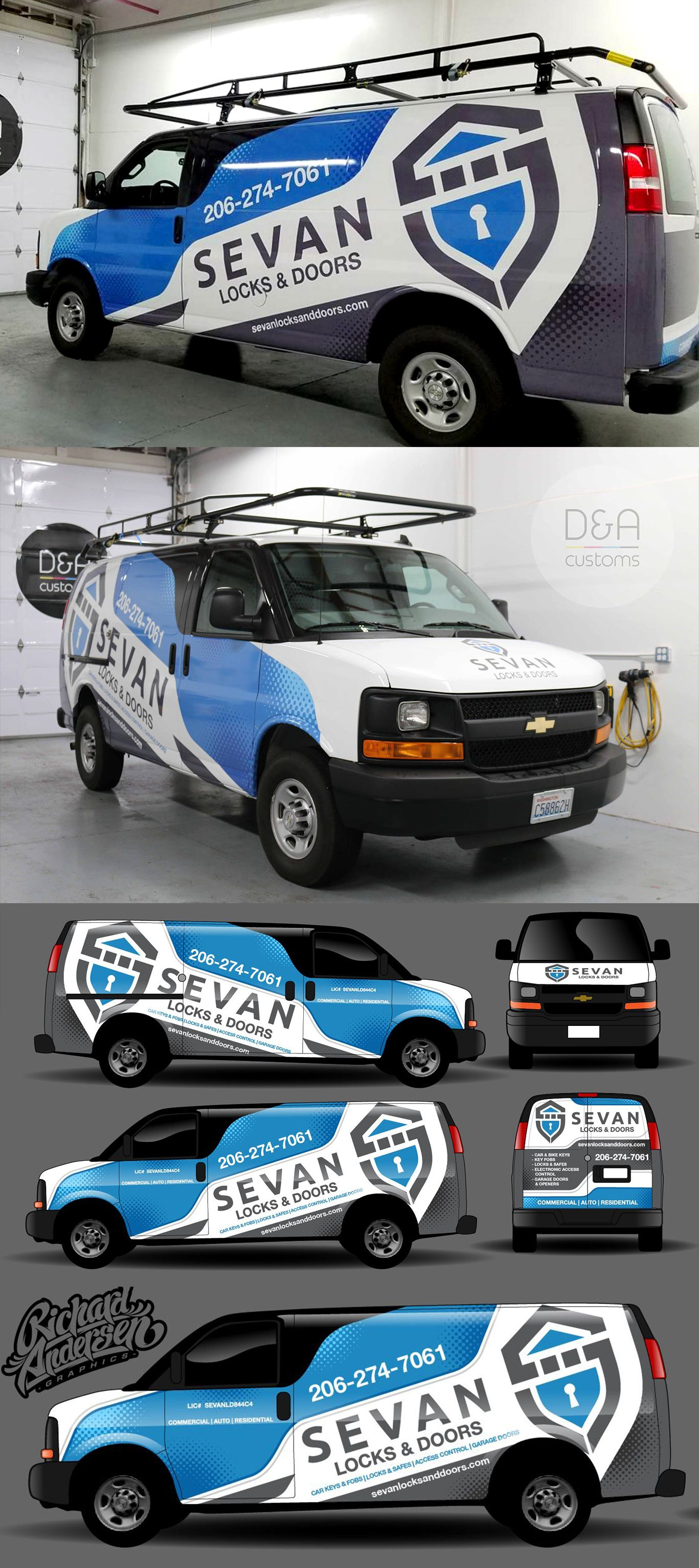 Designed By Richard Andersen Graphics Vans Pinterest - Window decals for business on carcustom sign rear window business lettering ad car truck van