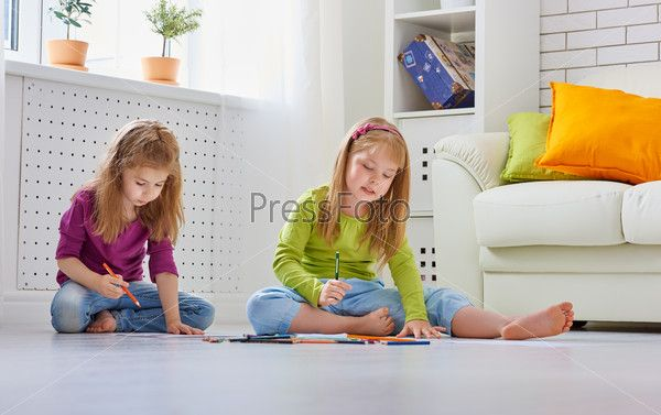 Drawing Children House Cleaning Company Children Clean House