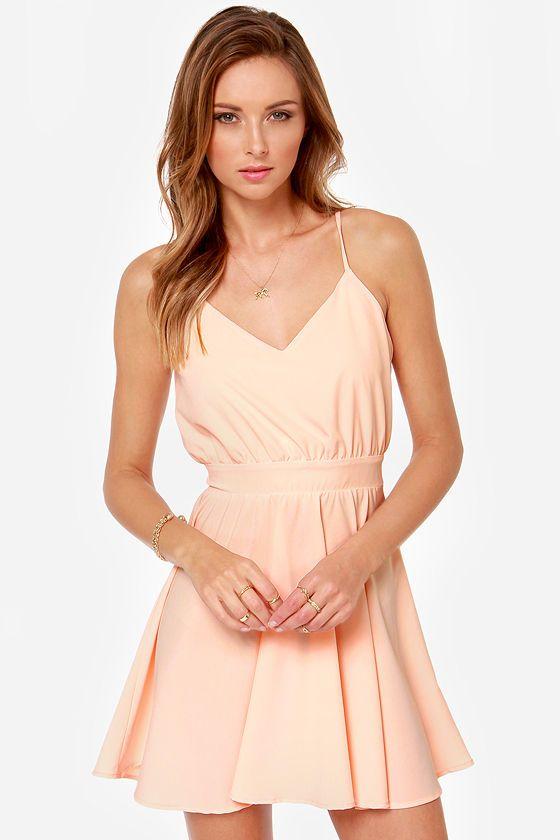 Lucy Love Penelope Light Peach Dress At Lulus