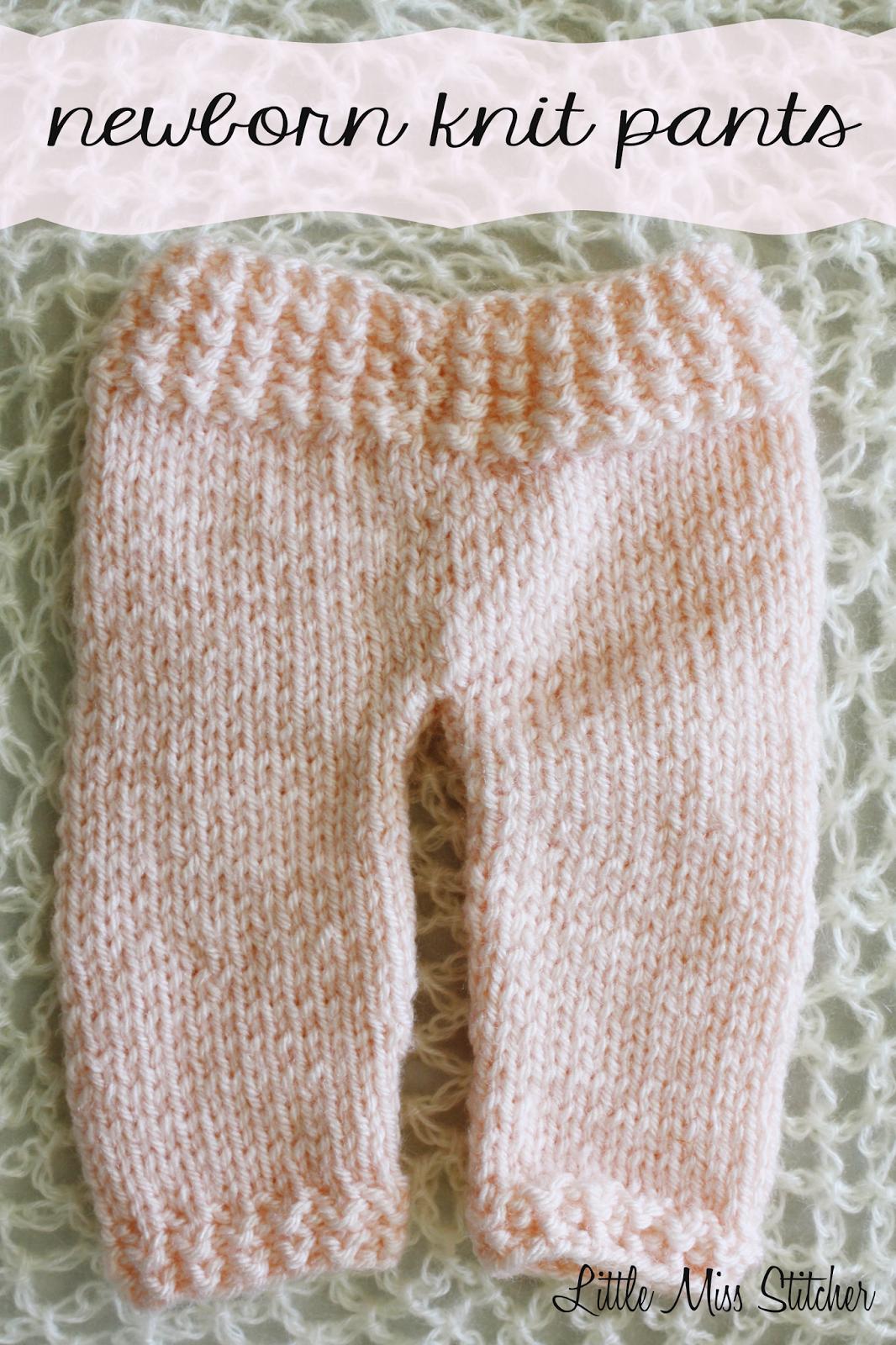 d04a578f8 Little Miss Stitcher  Newborn Knit Pants Free Pattern