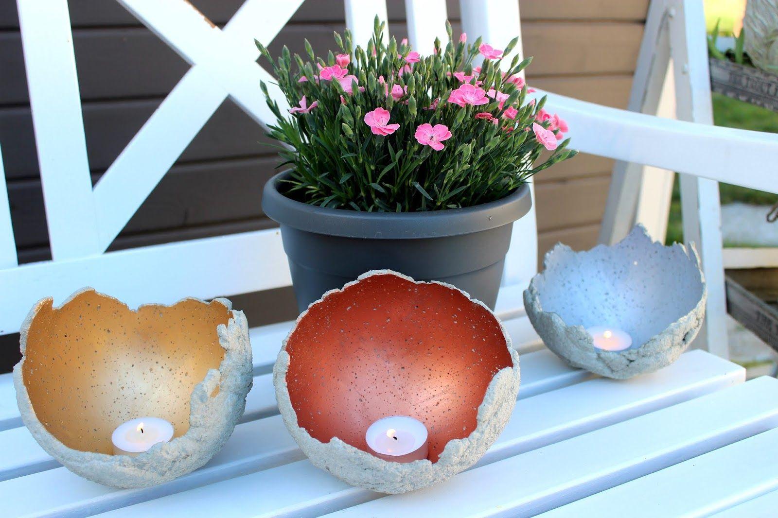 DIY Windlichter aus Beton ganz einfach selber machen - die perfekte Gartendeko #gartendekoselbermachen