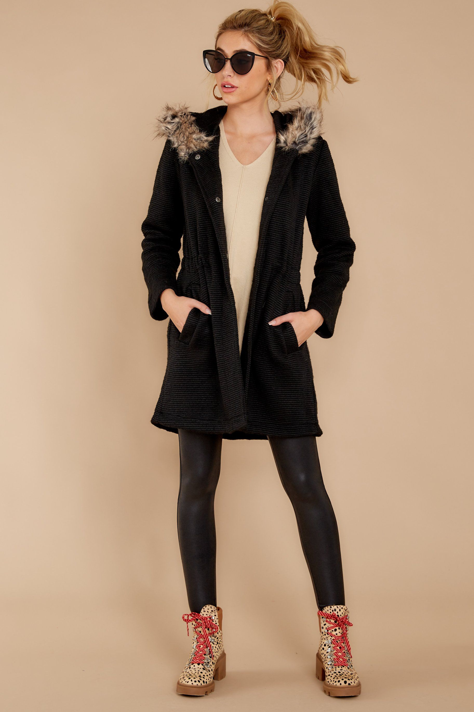 Bb Dakota Black Coat Ribbed Vegan Fur Button Coat Outerwear 148 Red Dress Black Coat Cute Coats [ 2738 x 1825 Pixel ]