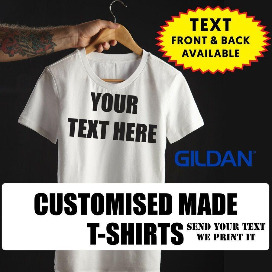 Personalised Black T-shirt Printing Custom Design print lot mens gift uniform