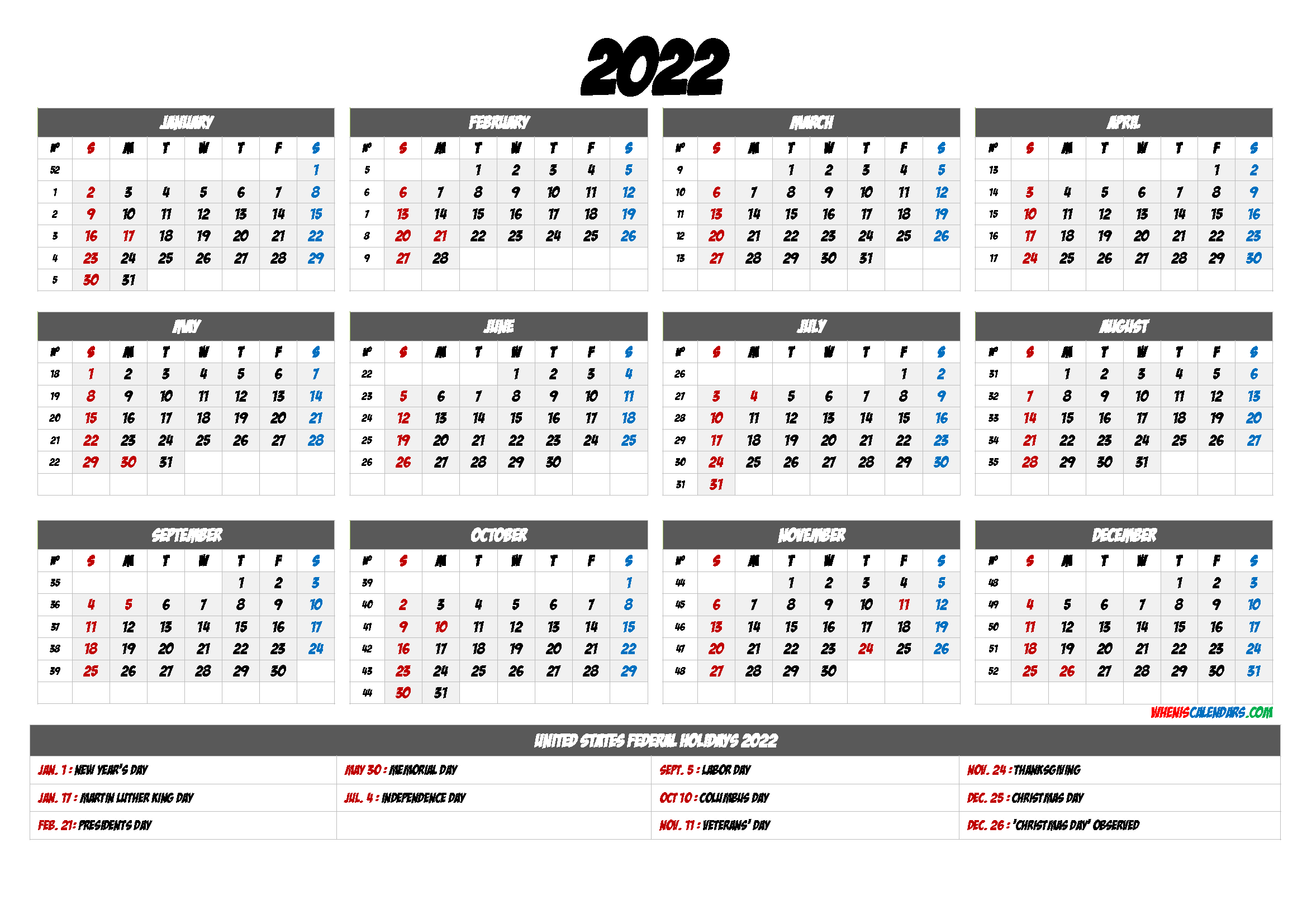 20+ 2022 Calendar With Holidays Printable - Free Download ...
