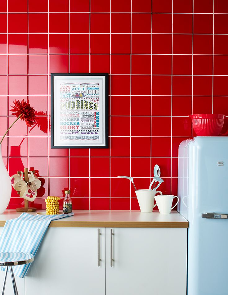Matrix Flame Red Tiles Exclusive To Topps Tiles Are A Brilliant Cost Effective Way To Add Colour To Any Interior Dec Red Kitchen Tiles Red Tiles Red Kitchen