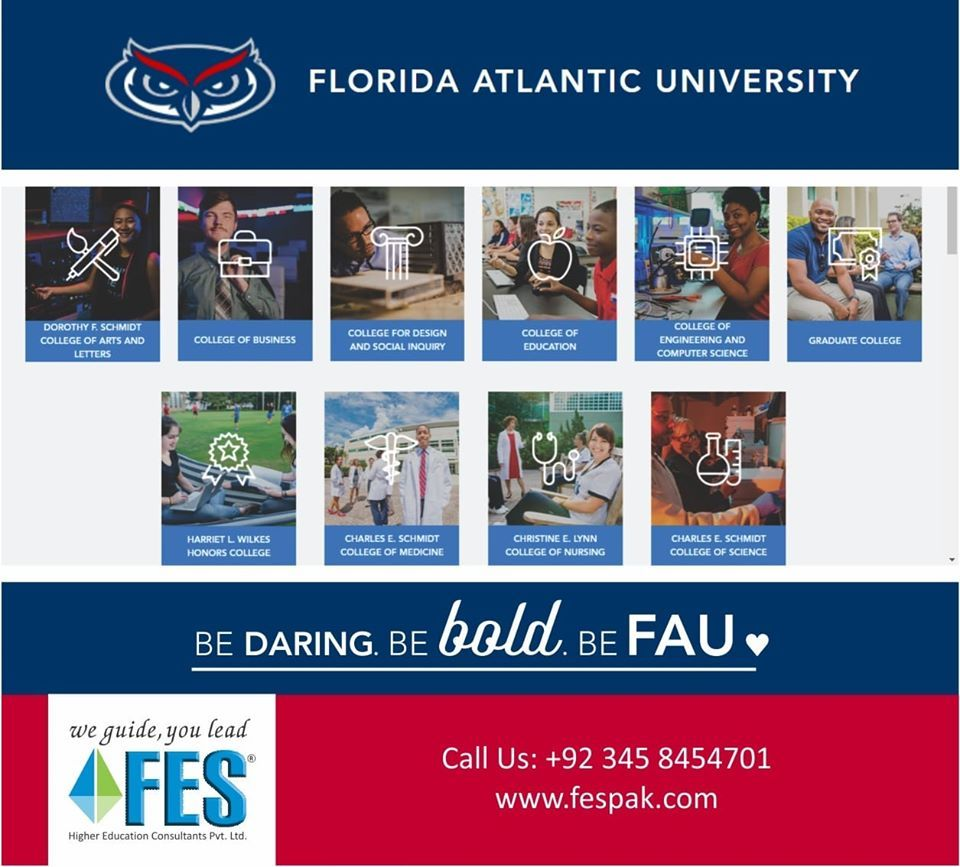 Study In Florida Atlantic University Usa With Fes Higher Education Consultants Pvt Ltd We Live In A World T With Images Educational Consultant Higher Education Education