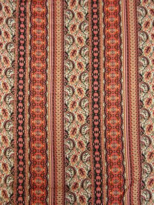 New Arrival! Coral Pink/Candy Pink/Multi Paisley Stripe Rayon Voile Challis 56W