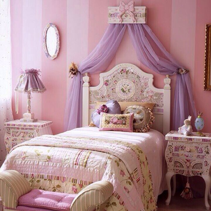 fancy girls room furniture. like the stripes and head board curtain thingys  Fancy girl bedroom