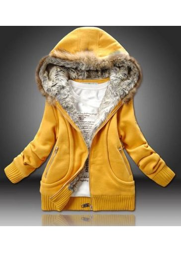 Hooded Winter Sweatshirt Thickened Coat Yellow Collar Shiny OPTXkZiu