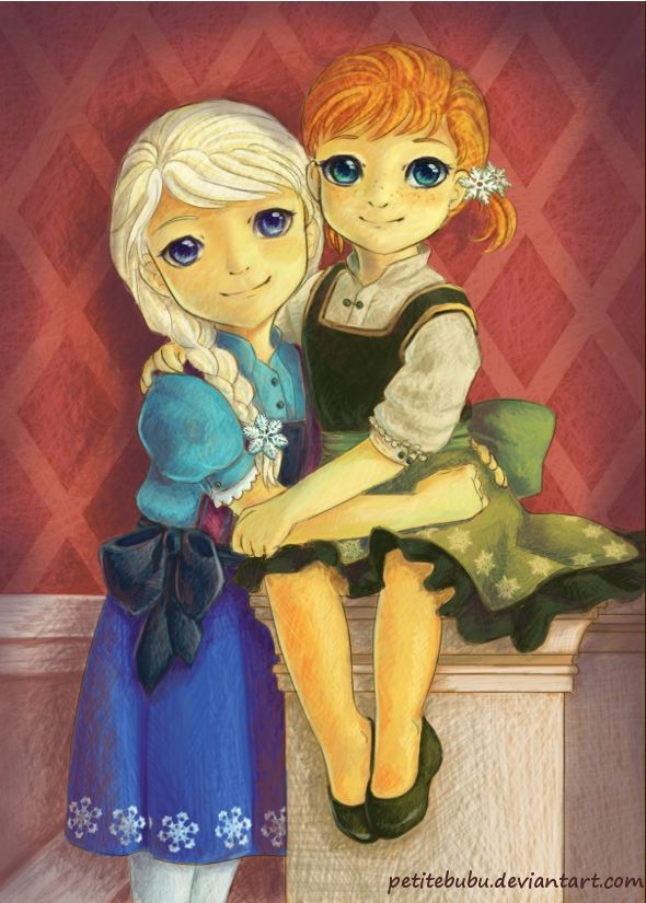 "Sisters of Arendelle by PetiteBubu.deviantart.com on @deviantART - Elsa and Anna from ""Frozen"" as children. They look so sweet :)"