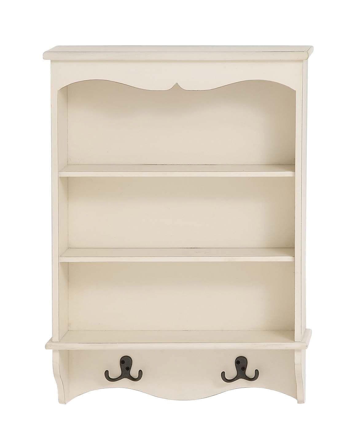 white wood curio wall shelf unit 3 shelves 2 double hooks on wall shelf id=97715