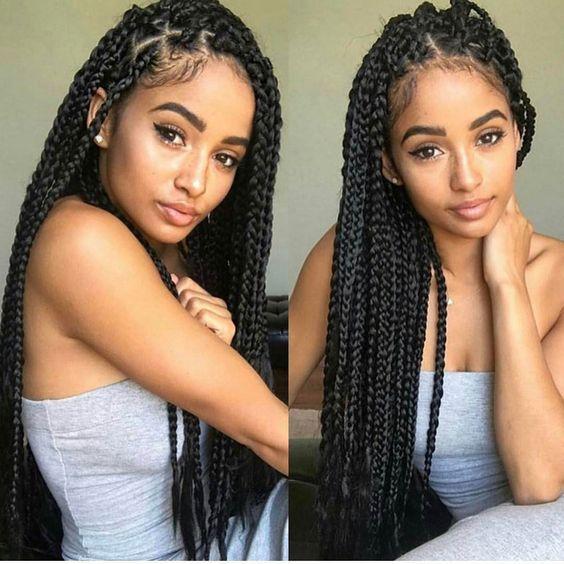 Jumbo Box Braids Hairstyles Inspired Beauty Box Braids Hairstyles Hair Styles Box Braids Styling