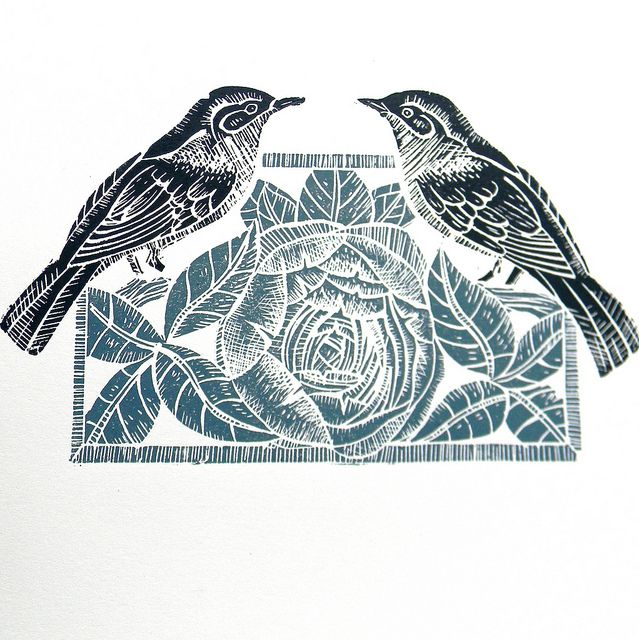 Nightingales and Peony Lino Print by Mangle Prints, via Flickr