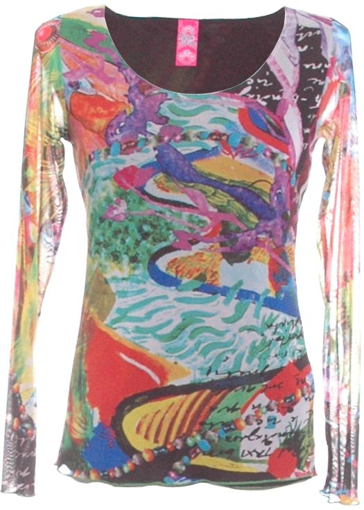 Kali Orea patterned multicoloured top. Unique multicoloured design. This top has long mesh sleeves for a very flattering finish. Beautiful with Jeans or a pencil skirt for a funky look this Spring Summer.