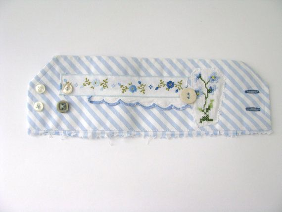 floral blue and white striped wrist cuff floral by redstitchlab