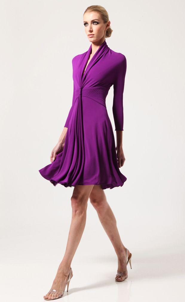 Purple Long Sleeve V Neck Pleated Dress - love this and how it flows ...