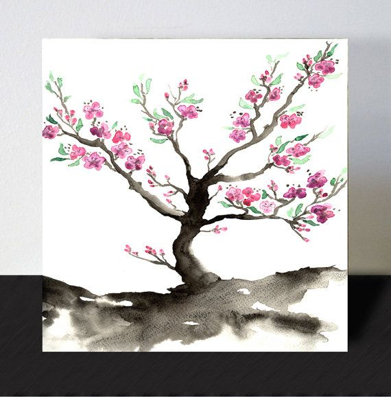 Wood Block Print Wall Decor Art Block Sakura Tree 8x8 Cherry Blossom Art Print Minimalist Home Decor Houseware Cherry Blossom Art Sakura Painting Art