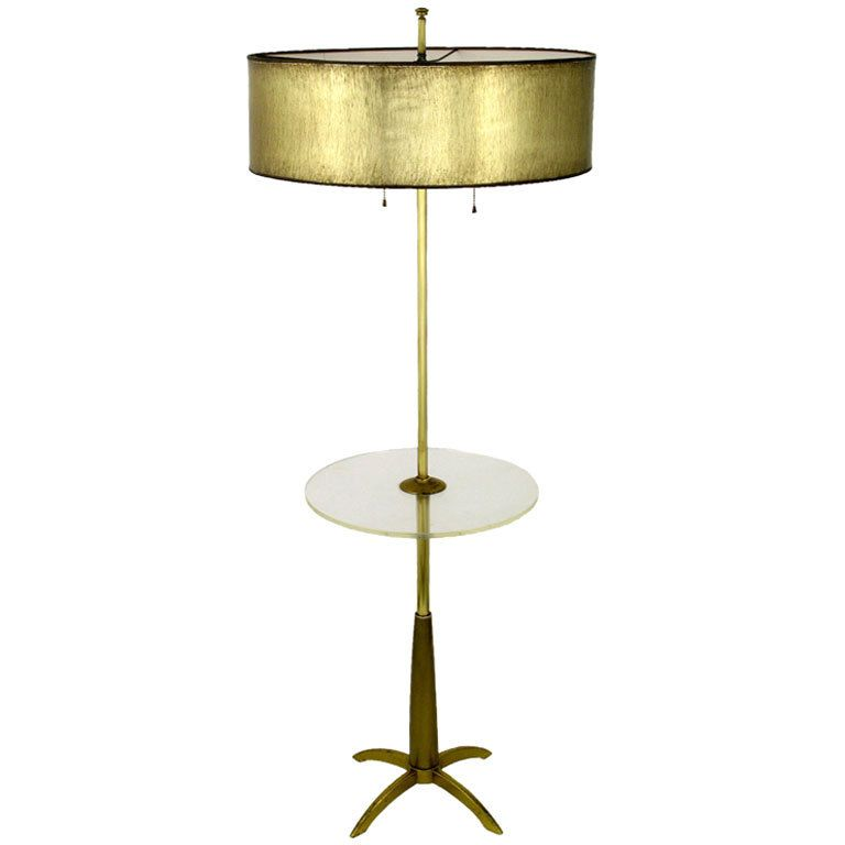 Stiffel Brass Floor Lamp With Round Lucite Table 1stdibs Com