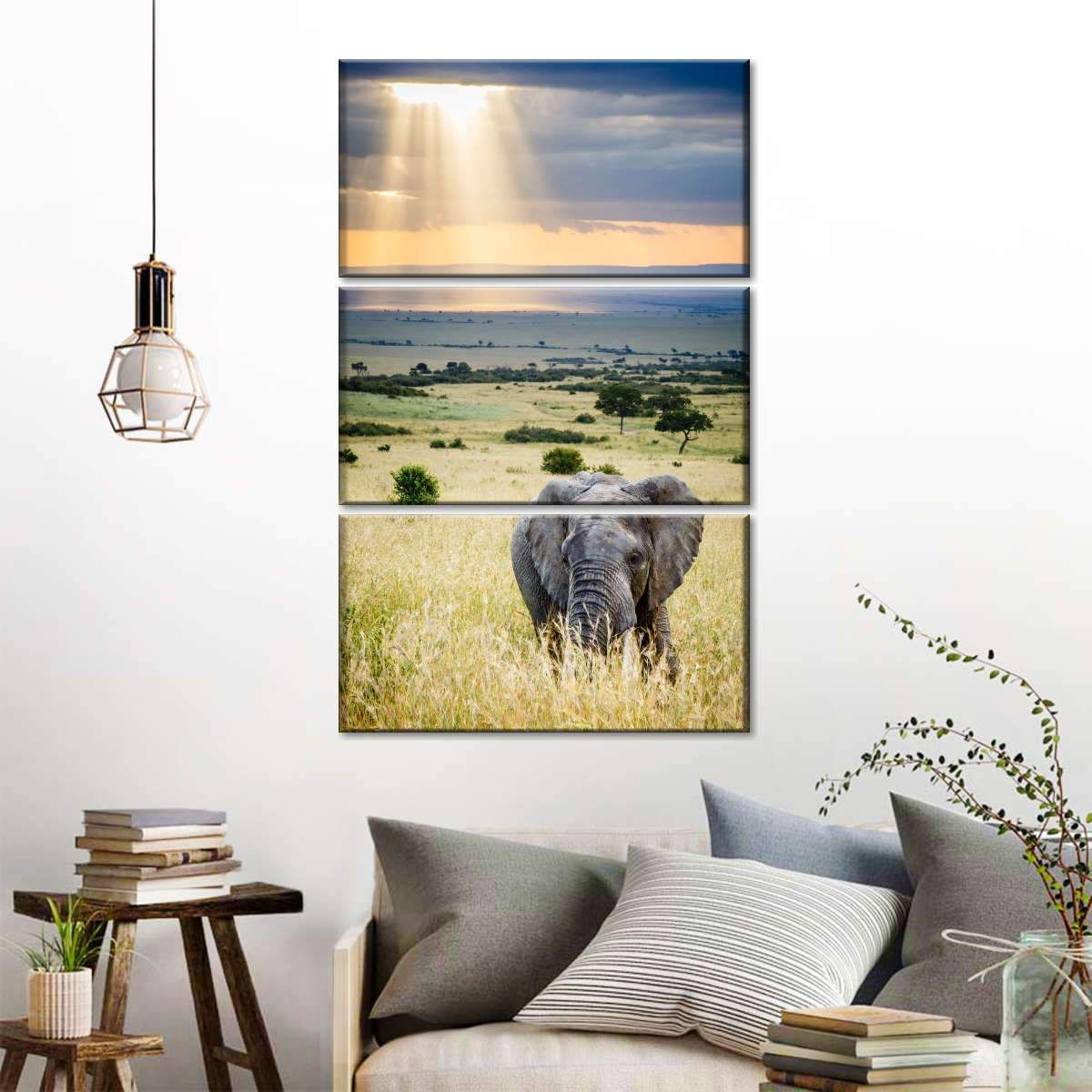Sunrays On Savanna Fields Multi Panel Canvas Wall Art