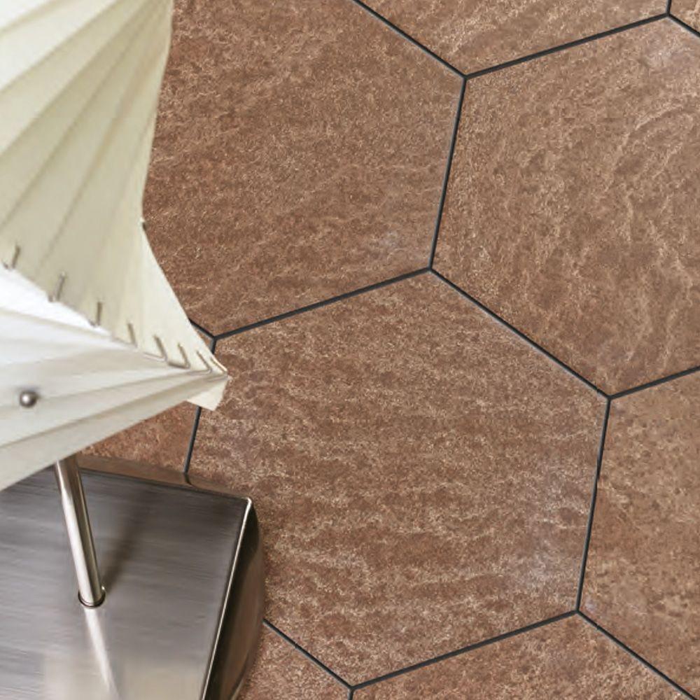 Baldosa de gres porcel nico para pavimento medida hexagonal de 22x25 de textura mate en 3 - Medidas de baldosas ...