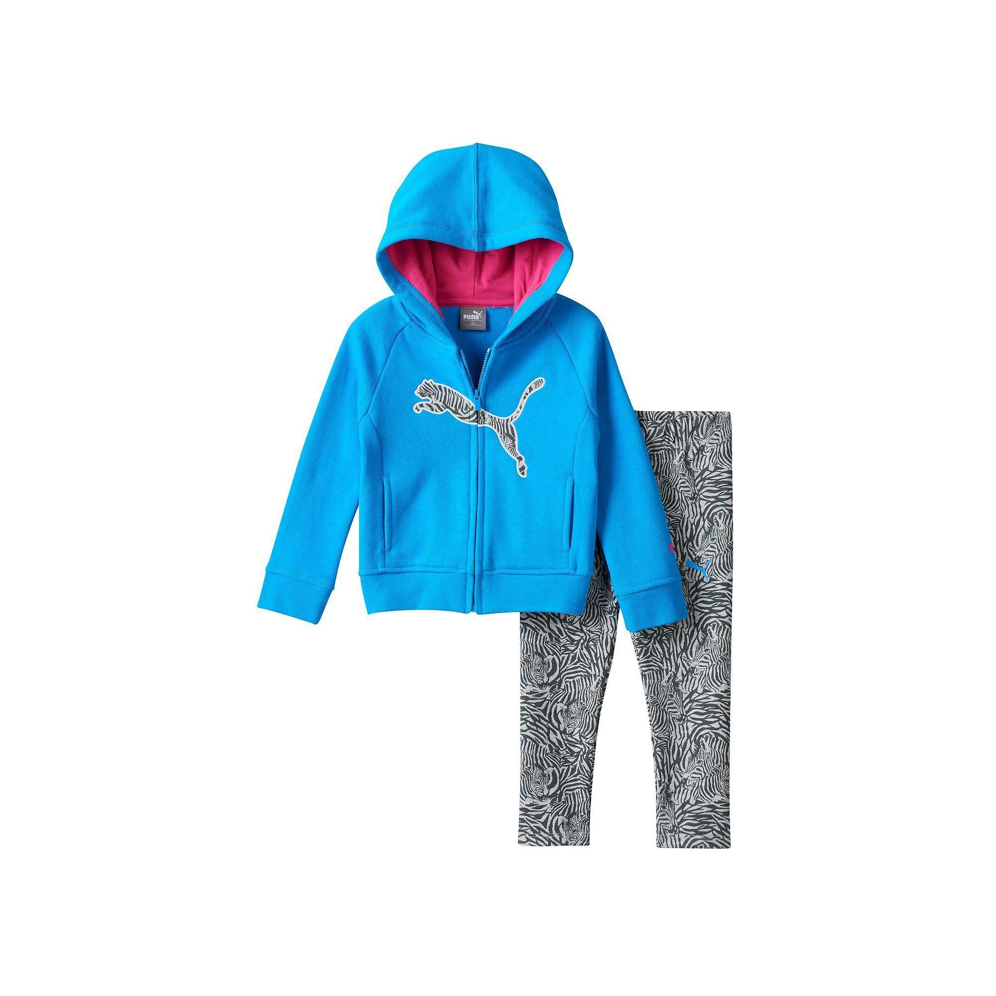 54b819b990a11 Baby Girl PUMA Fleece-Lined Logo Hoodie & Zebra Leggings Set ...