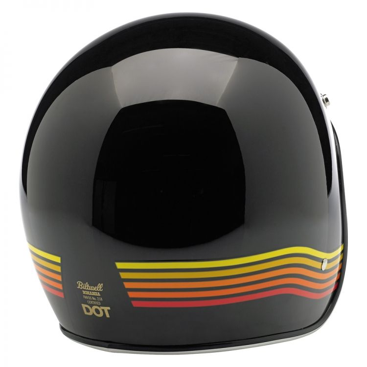 Bonanza LE Spectrum Helmet–Black/Orange Two Limited Edition graphic styles and four colorways available •Injection-molded ABS outer shell with hand-painted finish •Expanded polystyrene inner shell •Hand-sewn removable brushed Lycra liner with contrasting diamond-stitched quilted open-cell foam padding •Meets DOT safety standards •Rugged plated steel D-ring neck strap with adjustment strap end retainer •Rubber or chrome accent edging •XS through XXL sizes—$129.95