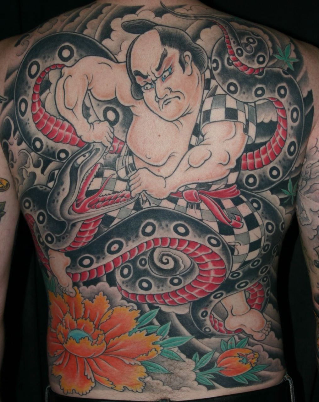 Sumo Wrestler and Snake Japanese Back Tattoo by Corey