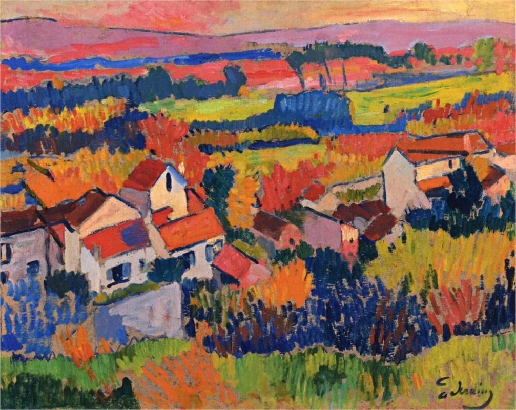 Art Arte Kunst  Fauvismo Landscape near Chatou, 1904, oil on panel, 56.2 x 46.04 cm, Private Collection, Fauvism, Andre Derain (1880-1954).