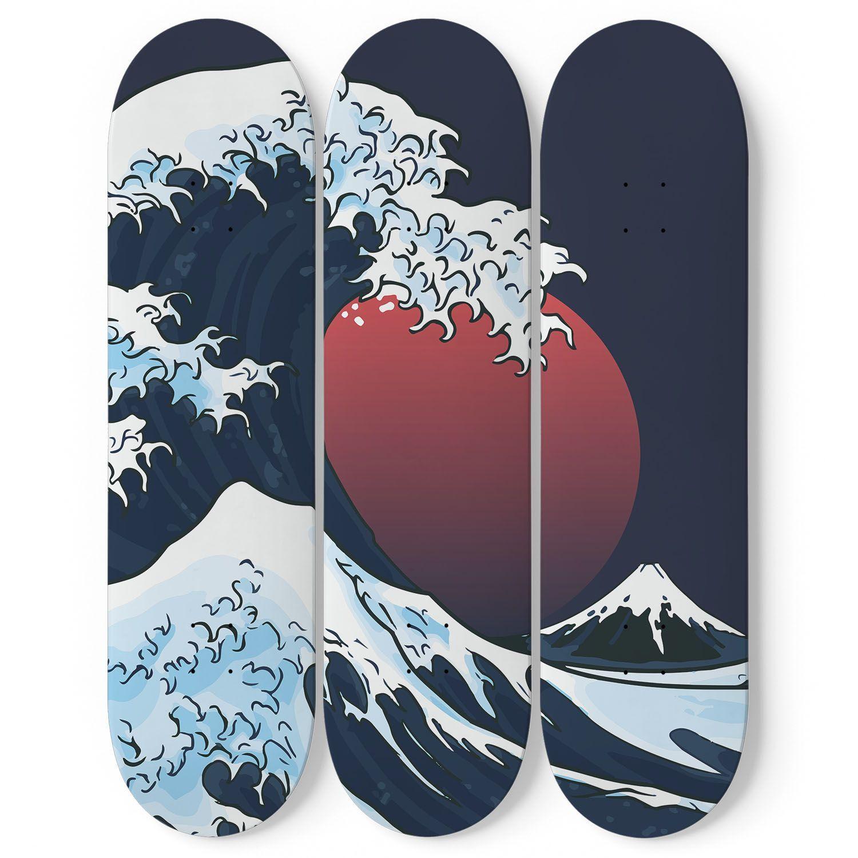 Custom Design The Great Wave Triple Skateboard Wall Art Trends Ideas Skateboard Wall Art Skateboard Art Design Skateboard Deck Art
