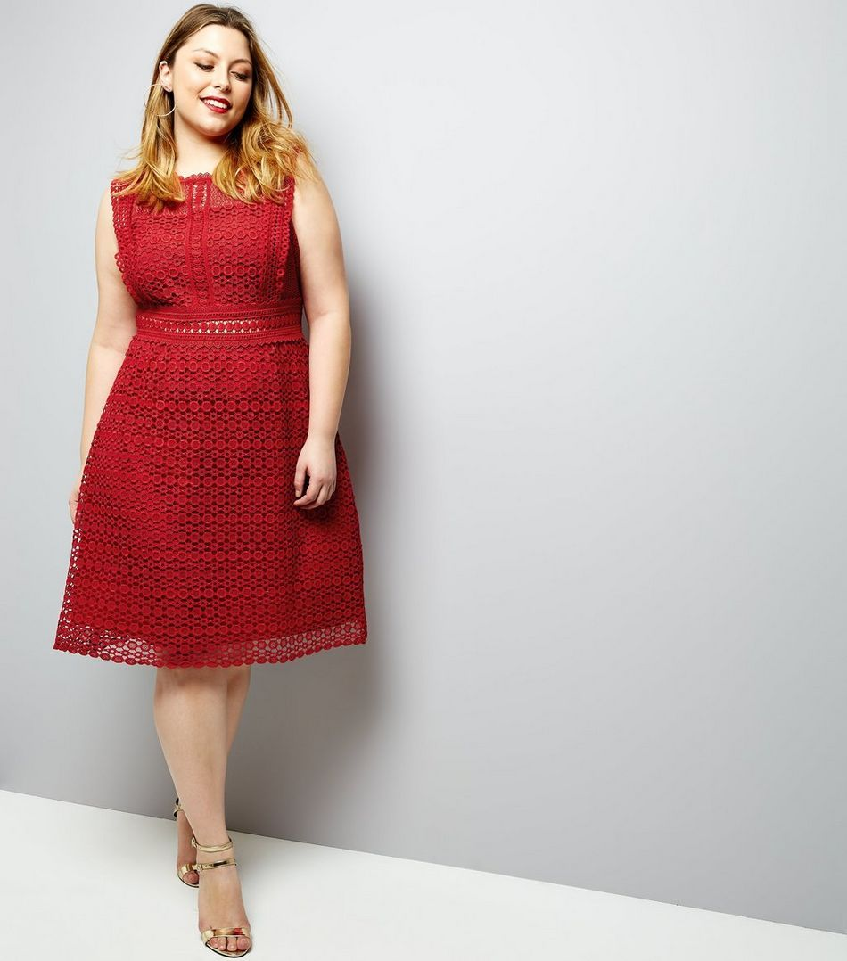 Curves red premium lace sleeveless skater dress new look plus