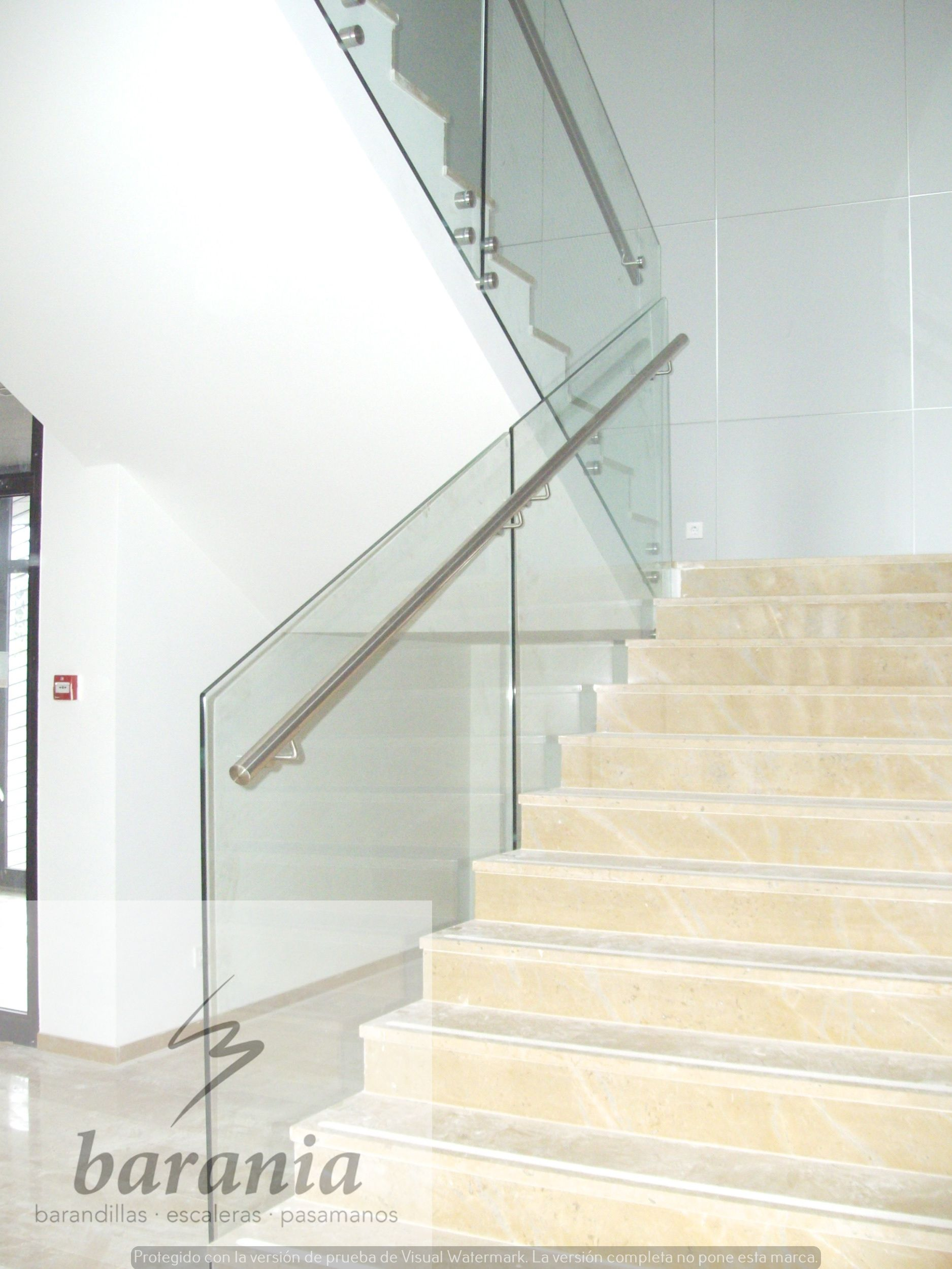 Barandilla cristal con pasamanos de acero inoxidable barandillas escaleras y pasamanos - Pasamanos de cristal ...