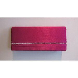 Pink satin clutch with diamond detail