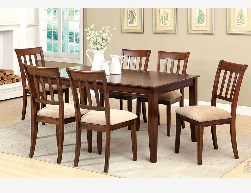 7 Pc Brown Cherry Wood Dining Room Set