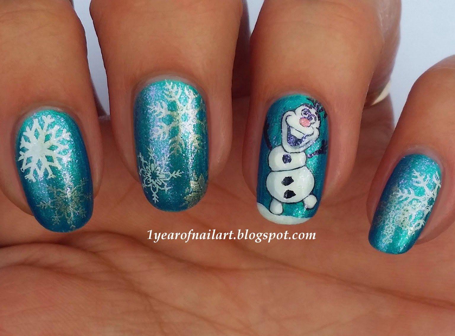 Frozen Olaf nail art 1yearofnailart.blogspot.com | Frozen ...