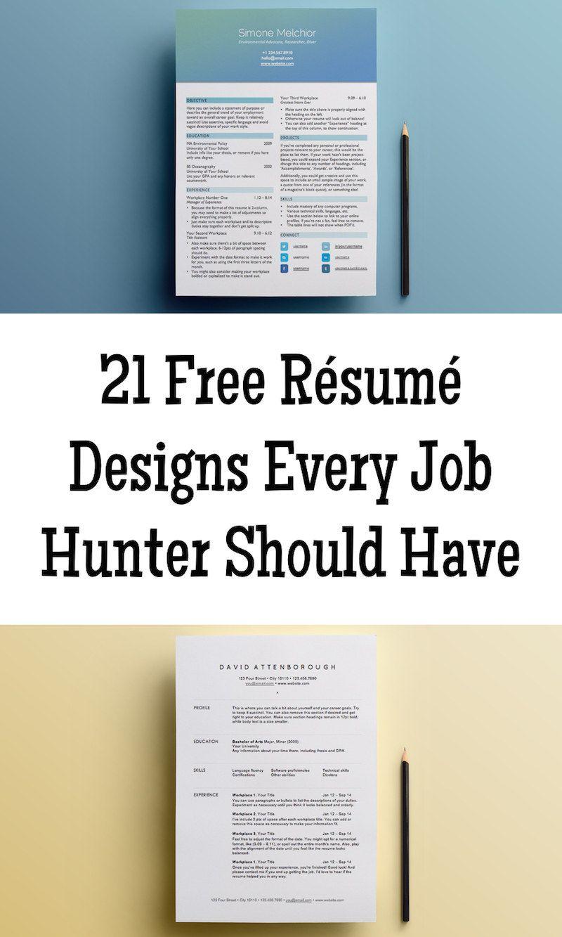 21 Free Resume Designs Every Job Hunter Needs Frees Designs
