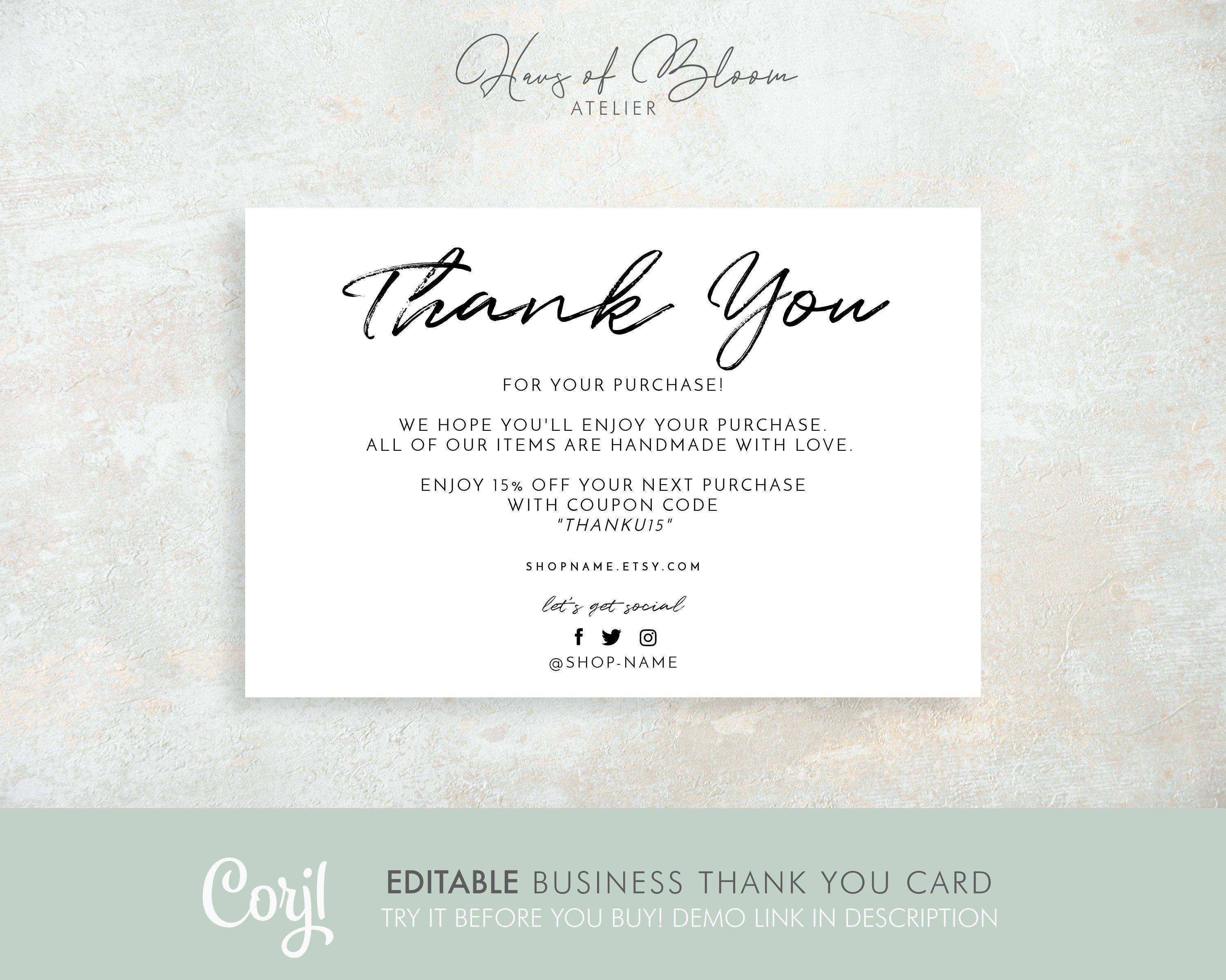 Business Thank You Card Thank You For Your Order Template Packaging Insert Cards Thank You Cust Business Thank You Cards Business Thank You Thank You Customers