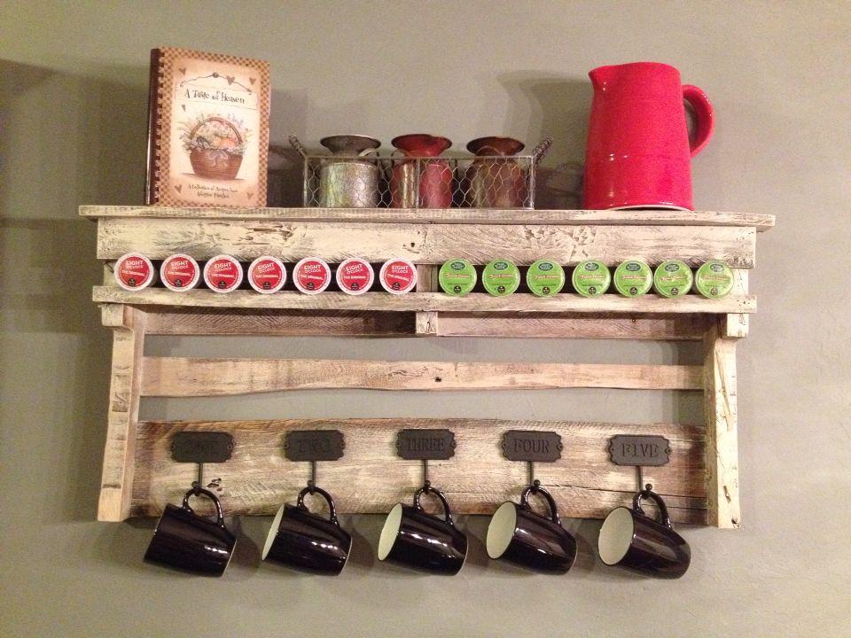 Coffee bar shelf made from old pallet wood. | Bar shelves ...