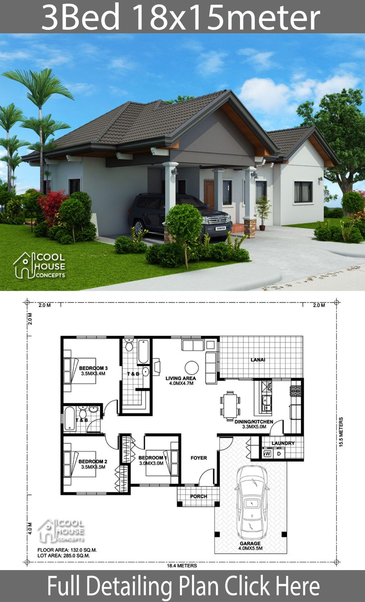 Home Design Plan 18x15m With 3 Bedrooms Home Design With Plansearch Town House Plans Affordable House Plans Model House Plan